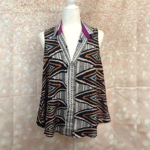 NWOT Lavender Brown | Tribal Print Tunic Blouse